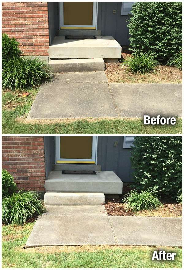 Louisville Concrete Steps Leveling Before and After