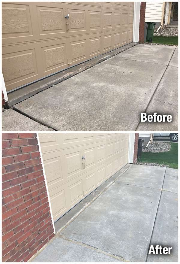 Concrete Driveway Leveling Before and After
